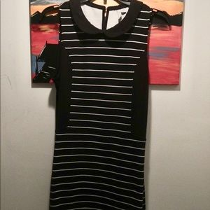Black and white striped collared dress EUC